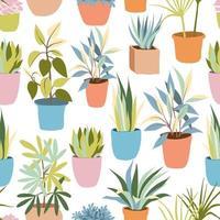 motif de plantes à la maison plate vecteur
