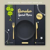 bannière publicitaire du ramadan. modèle de publication sur les médias sociaux ramadan vecteur