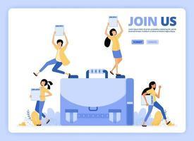 personnes debout avec des demandes à postuler. offres d'emploi, rejoignez-nous ou nous embauchons illustration. conçu pour la page de destination, la bannière, le site Web, le Web, l'affiche, les applications mobiles, la page d'accueil, le dépliant, la brochure vecteur