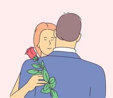La Saint-Valentin. couple amoureux. jeune copine heureuse étreignant son petit ami et tenant rose. illustration vectorielle plane