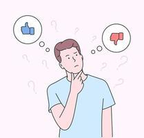 choix, réflexion, doute, concept de problème. jeune homme garçon debout confusément pour choisir oui ou non. illustration vectorielle plane vecteur