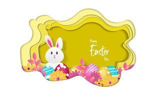 carte de voeux joyeuses Pâques, illustration vectorielle avec style de papier découpé. vecteur