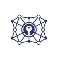 Cryptage, icône de ligne de vecteur de cryptographie sur white.eps