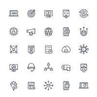 ensemble d'icônes de ligne de marketing numérique et SEO .eps vecteur