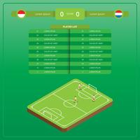 Illustration de football isométrique avec table Versus vecteur