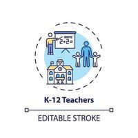 Icône de concept k 12 enseignants vecteur