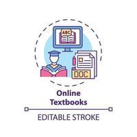 icône de concept de manuels en ligne vecteur