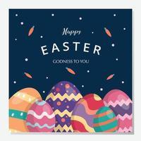 joyeux jour de Pâques et publication sur les médias sociaux. illustration vectorielle. dessiné à la main. carte de voeux. bannière d'entreprise. design plat. vecteur