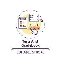 tests et icône de concept de carnet de notes vecteur