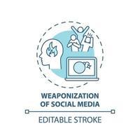 icône de concept de militarisation des médias sociaux vecteur