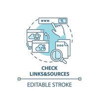 vérification de l'icône de concept de liens et de sources vecteur