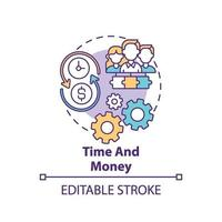 icône de concept de temps et d & # 39; argent vecteur