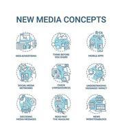 nouveau jeu d'icônes de concept de médias vecteur