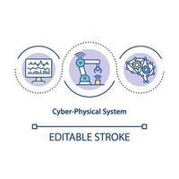 icône de concept de système cyber-physique vecteur