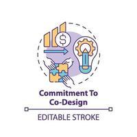 engagement envers l'icône du concept de co-conception vecteur