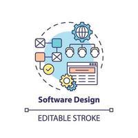 icône de concept de conception de logiciel vecteur