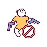 Empêcher la mort d'enfants avec l'icône de couleur rgb de contrôle des armes vecteur