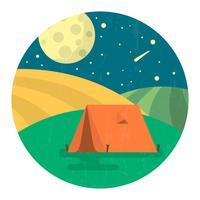 Paysage de camping plat
