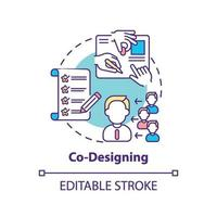icône de concept de co-conception vecteur