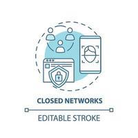 icône de concept de réseaux fermés vecteur