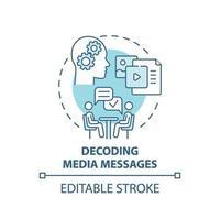 icône de concept de décodage de messages multimédias vecteur