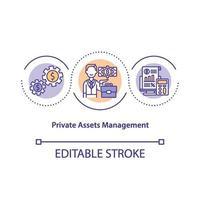 icône de concept de gestion des actifs privés vecteur