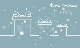joyeux Noël fond avec boîte-cadeau et bannière de ruban. illustration vectorielle