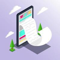 achats en ligne. marketing numérique et commerce électronique gros smartphone avec un énorme concept de facture. supermarché dans la boutique en ligne de l'appareil. illustration vectorielle