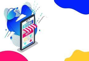 achats en ligne avec service de livraison. marketing numérique et commerce électronique gros smartphone avec concept de facture énorme. supermarché dans la boutique en ligne de l'appareil. illustration vectorielle