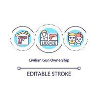 icône de concept de propriété civile des armes à feu vecteur