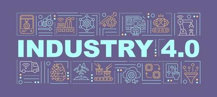 bannière de concepts de mots Internet des objets industriels vecteur