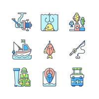équipement de pêche jeu d & # 39; icônes de couleur rgb