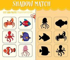 jeu de match d'ombre pour les enfants vecteur