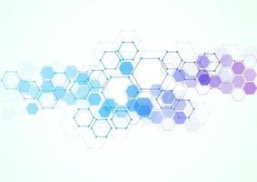 structures moléculaires hexagonales abstraites dans le fond de la technologie et le style scientifique. conception médicale. illustration vectorielle vecteur