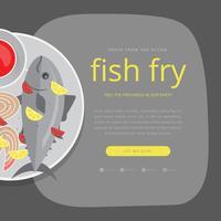 Modèle d'invitation de fruits de mer vendredi poisson frit vecteur