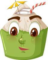 Personnage de dessin animé mignon de noix de coco avec une expression de visage confus sur fond blanc vecteur
