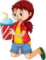 personnage de dessin animé fille heureuse tenant une tasse en plastique de boisson vecteur