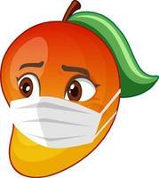 personnage de dessin animé de mangue portant un masque avec une expression faciale vecteur
