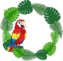 modèle de bannière de feuilles vertes rondes avec un oiseau perroquet
