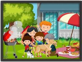 une photo de famille faisant un pique-nique dans un cadre