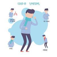 Icônes de symptômes de coronavirus pandémique de covid 19 définies pour infographie