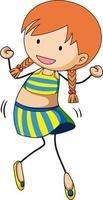 un personnage de dessin animé de fille dans un style doodle isolé vecteur