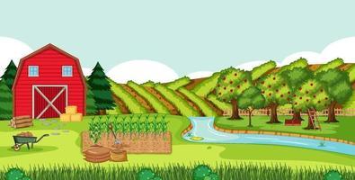 scène de ferme avec grange rouge dans un paysage de champ vecteur