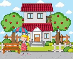 devant la scène de la maison avec une fille tenant un parapluie