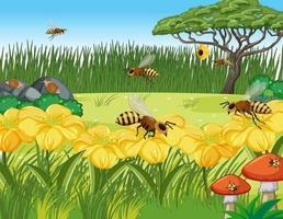 gros plan de fleurs et de feuilles avec de nombreuses abeilles