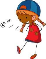 personnage de dessin animé de doodle riant de petite fille isolé
