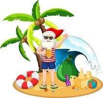le père noël sur l'île de la plage pour l'été noël