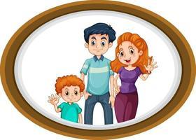 photo de famille heureuse sur cadre en bois