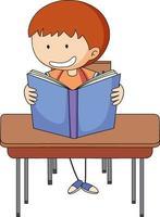 un garçon lisant livre doodle dessin animé
