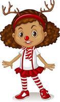 fille portant un bandeau de renne et un costume de Noël nez rouge vecteur